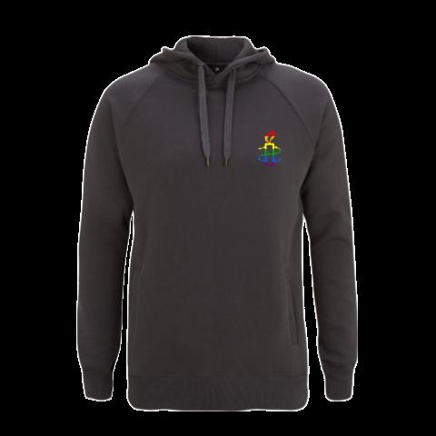 Unisex hoodie - donker grijs met regenboog kaarsje    Maat XS