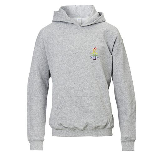Kinder hoodie - grijs met regenboog kaarsje