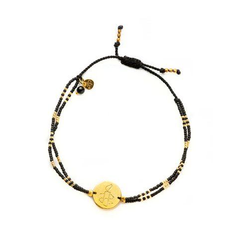 Gratitude Zwarte Onyx Goud Armband