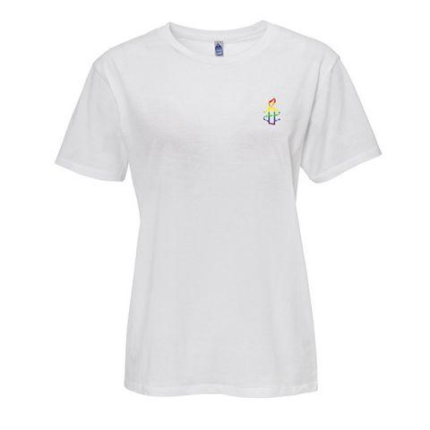 Unisex T-shirt - wit met regenboog kaarsje