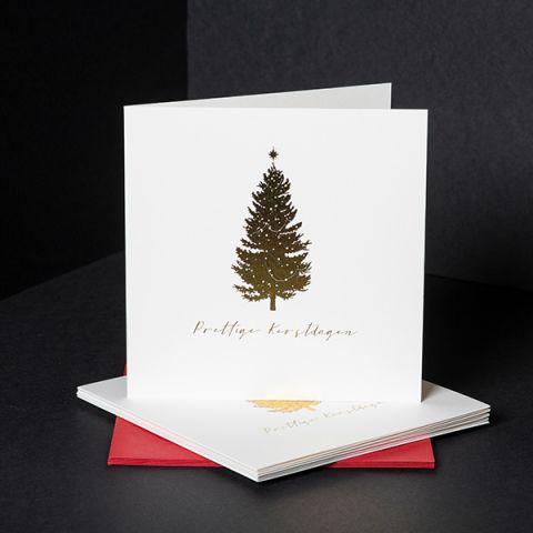 Kerstkaarten gouden kerstboom