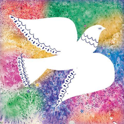 Kerstkaarten gekleurde duiven