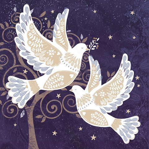 Kerstkaarten folie duiven