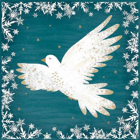 Kerstkaarten sneeuwvlokjes duif