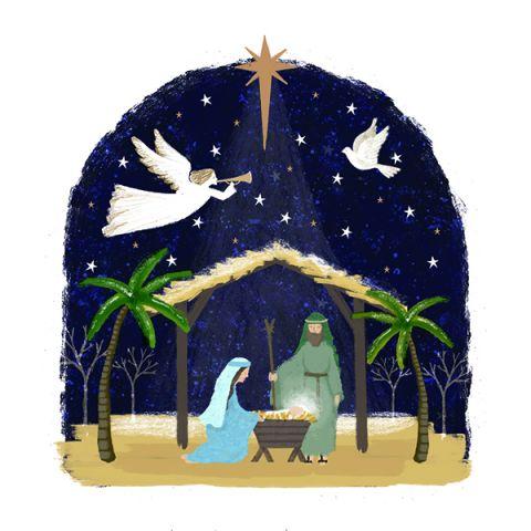 Kerstkaarten Manger Scene