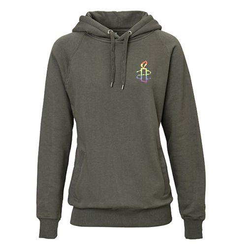 Unisex hoodie - donker grijs met regenboog kaarsje