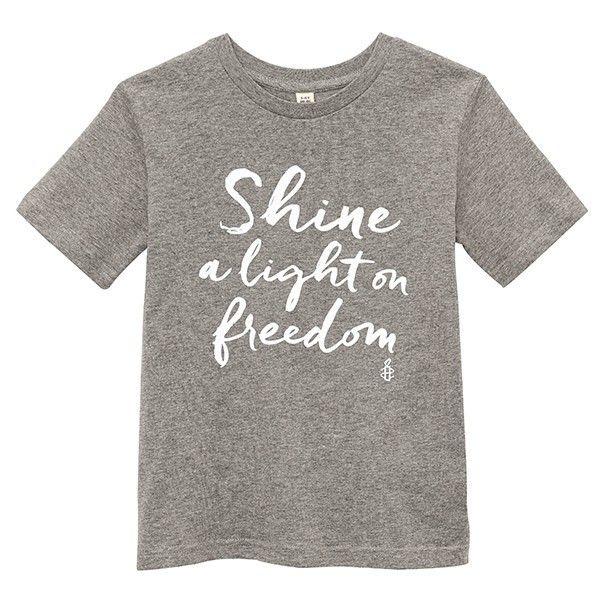 Kinder T-shirt Shine a light on Freedom - grijs