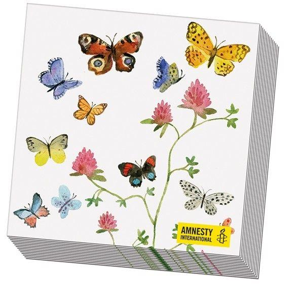 Servetten Bloemen en Vlinders