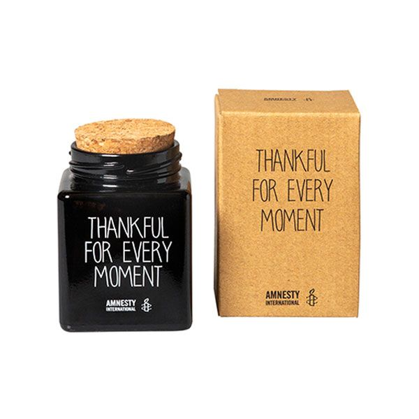 Amnesty Glaskaarsje Thankful - zwart