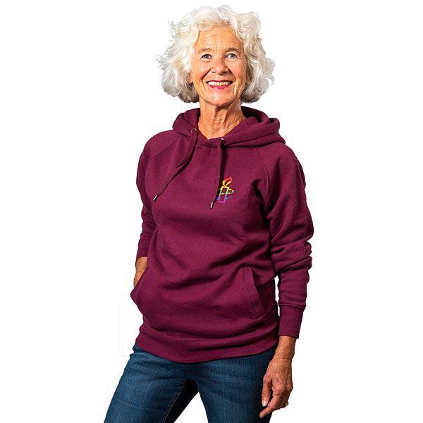 Unisex hoodie - bordeauxrood met regenboog kaarsje