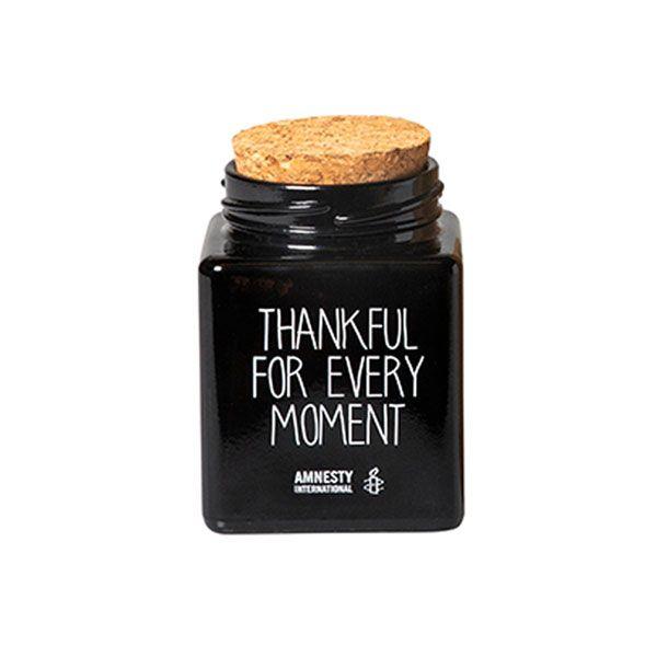 Amnesty Glaskaarsje Thankful - zwart