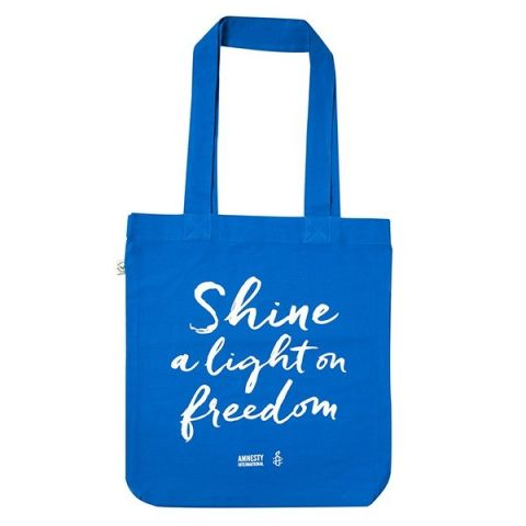 Tas Shine a light on Freedom - blauw